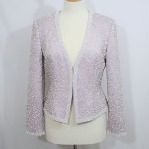 Oleg Cassini Purple Beaded Blazer Size 8